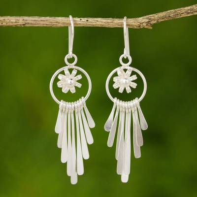 Sterling silver waterfall earrings, 'Jasmine Comets' - Sterling silver waterfall earrings
