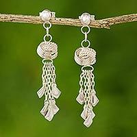 Sterling silver waterfall earrings, 'Love Knots'