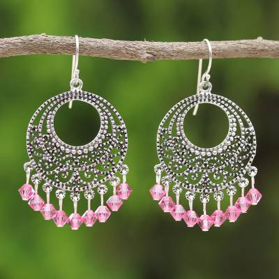Sterling silver chandelier earrings, 'Moroccan Rose' - Sterling Silver Chandelier Earrings