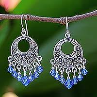 Sterling silver dangle earrings, 'Blue Whispers' - Sterling silver dangle earrings