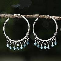 Sterling silver hoop earrings, 'Classic Blue' - Sterling Silver Beaded Hoop Earrings