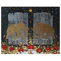'Gold Elephant I' (2008) - Acrylic Painting from Thailand