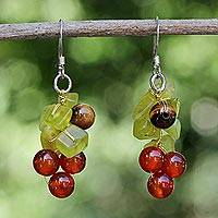 Tiger's eye and carnelian cluster earrings, 'Breezy' - Beaded Quartz and Carnelian Earrings