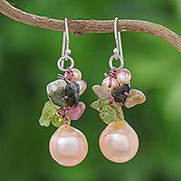 Pearl and peridot cluster earrings, 'Rosy Dawn' - Pearl and peridot cluster earrings