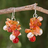 Pearl and carnelian cluster earrings, 'Summer's Glow' - Beaded Carnelian Earrings