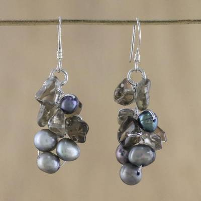 Pearl cluster earrings, 'Midnight Mystery' - Pearl and Quartz Dangle Earrings