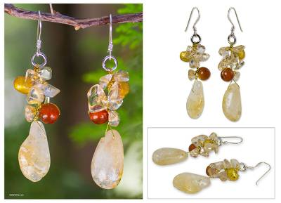 Pearl and carnelian cluster earrings, 'Golden Star' - Beaded Quartz and Pearl Dangle Earrings