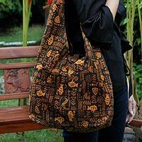 Cotton handbag, 'Hieroglyphs' - Cotton Shoulder Bag Handmade in Thailand