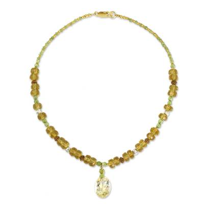 Citrine and peridot choker