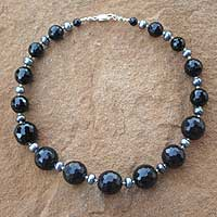 Pearl and onyx choker, 'Midnight Music' - Pearl and onyx choker