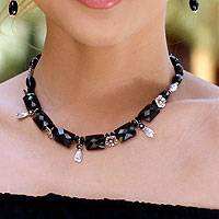 Onyx and beryl choker, 'Night Meadow' - Hand Crafted Onyx and Silver Choker