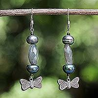 Pearl and labradorite dangle earrings,