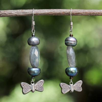 Pearl and labradorite dangle earrings, 'Iridescent Sky' - Pearl and labradorite dangle earrings