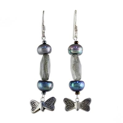 Pearl and labradorite dangle earrings