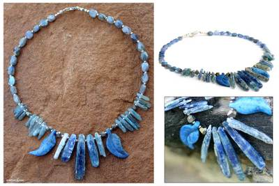 Lapis and labradorite choker, 'Sea Princess' - Lapis and labradorite choker