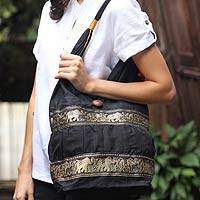 Cotton shoulder bag, 'Black Elephant Parade' - Black Cotton Should Bag from Thailand
