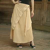 Cotton skirt, 'Thai Sands' - Beige Cotton Skirt