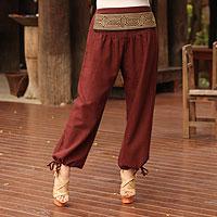 Cotton capri pants, 'Thai Riches' - Cotton capri Trousers