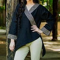 Cotton blouse, 'China Paths in Black' - Black Angular Bordered Blouse Handcrafted in Thailand