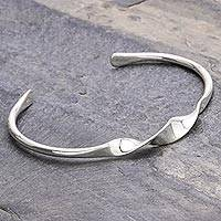 Sterling silver cuff bracelet, 'Ribbon Twist'