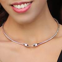 Sterling silver choker, 'Ribbon Twist' - Handmade Silver Collar Necklace