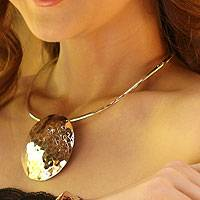 Sterling silver choker, 'Full Moon Rising' - Handcrafted Modern Sterling Silver Statement Necklace