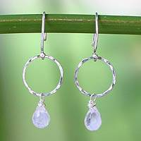 Rainbow moonstone dangle earrings, 'Moonlit Solo' - Fair Trade Sterling Silver and Rainbow Moonstone Earrings