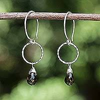 Smoky quartz dangle earrings, 'Mystic Solo' - Handcrafted Sterling Silver and Smoky Quartz Earrings