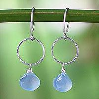 Chalcedony dangle earrings, 'Mystic Solo' - Sterling Silver and Chalcedony Dangle Earrings