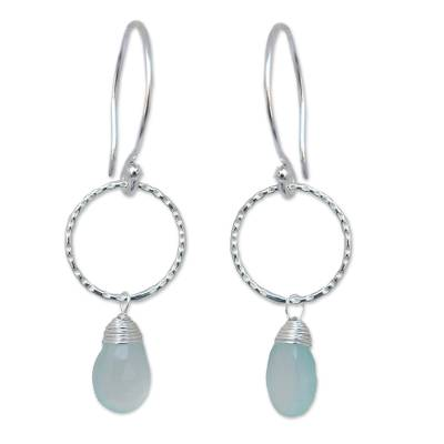 Sterling Silver and Chalcedony Dangle Earrings
