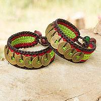 Beaded wristband bracelets, 'Coins of Harmony' (pair) - Hand Crafted Good Fortune Wristband Bracelets (Pair)
