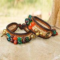 Beaded wristband bracelets, 'Bold Brown Fortunes' (pair) - Beaded Wristband Bracelets (Pair)
