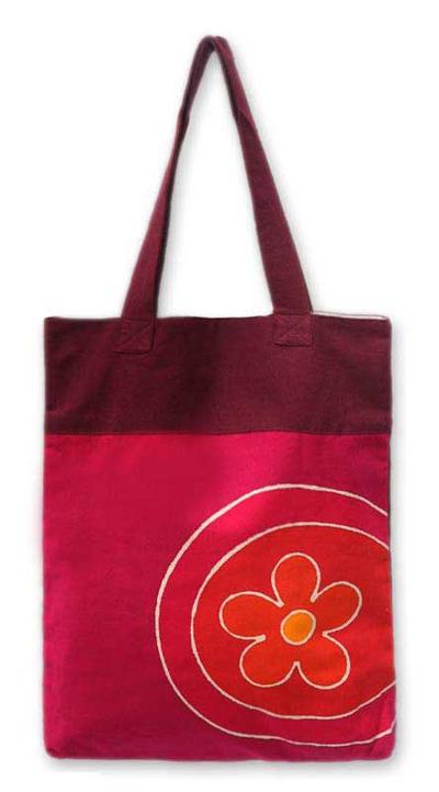 Floral Pink Cotton Shoulder Bag from Thailand