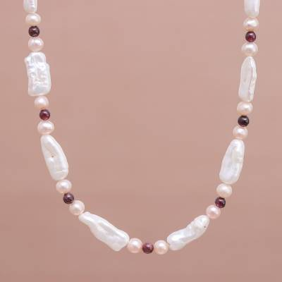 Pearl and garnet choker, 'Passion and Purity' - Women's Pearl and Garnet Necklace