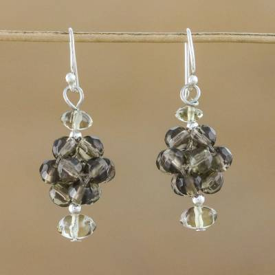 Quartz cluster earrings, 'Smoky Mystique' - Quartz cluster earrings