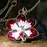 Gold plated natural orchid flower necklace, 'Timeless Dancer' - Fair Trade Gold Plated Natural Orchid Necklace