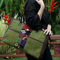 Hemp and cotton handbag, 'Bamboo Lanna' - Hemp and cotton handbag