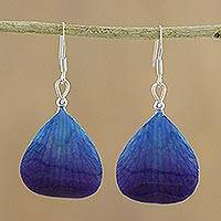 Natural orchid dangle earrings, 'Twilight' - Orchid Petal Earrings
