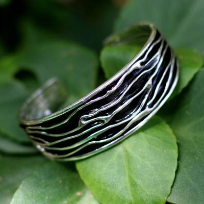 Sterling silver cuff bracelet, 'River' - Hand Crafted Sterling Silver Cuff Bracelet