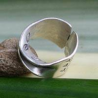 Silver band ring, 'The Enigma' - Modern 950 Silver Band Ring from Thailand