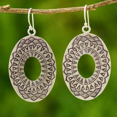 Silver dangle earrings, 'Lotus Shield' - Thai 950 Silver Dangle Earrings