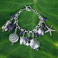 Pearl and amethyst charm bracelet, Open Sea