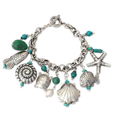 Blue Turquoise Fine Silver Seashell Starfish Ocean Life Charm Bracelet