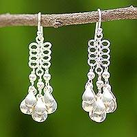 Sterling silver chandelier earrings, 'Thai Melody' - Unique Sterling Silver Chandelier Earrings