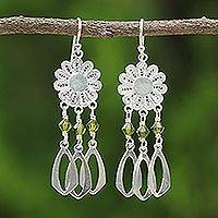 Sterling silver chandelier earrings, 'Sunflower Paradise' (Thailand)