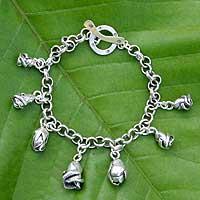 Silver charm bracelet, 'Rosebuds' (Thailand)