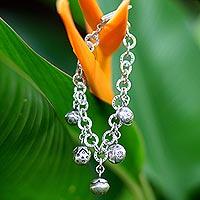 Silver charm bracelet, 'Ladybug Orchard' (Thailand)