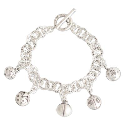 Handcrafted Fine Silver Charm Bracelet