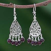 Garnet chandelier earrings, 'Lace Teardrop' - Garnet and Sterling Silver Chandelier Earrings