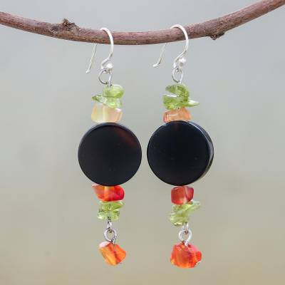 Onyx and peridot dangle earrings, 'Radiant Night' - Onyx Beaded Dangle Earrings